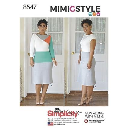 Amazon.com: Simplicity Pattern 8547 Y5 Women\'s and Petite Plus Dress ...