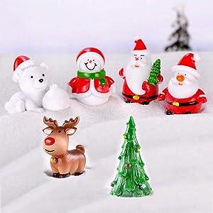 TBoxBo 6PCS Miniature Ornament Kits Set Unique Cartoon Design Christmas Decorations Mini Desktop Ornaments Dollhouse Decorationinion Resin Xmas Gift for Girls Boys Kids