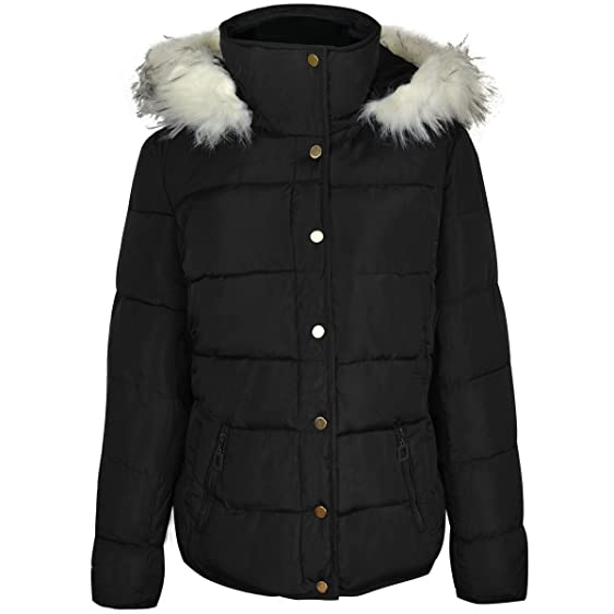 Womens Ladies Winter Quilted Coat Puffer Fur Collar Hooded Jacket ... : winter quilted coats - Adamdwight.com