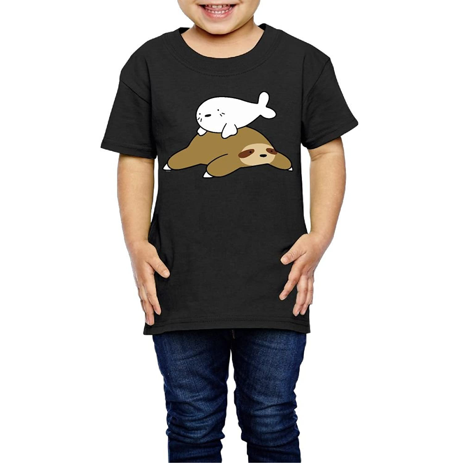 Tolder Aw2 Baby Harp Seal And Sloth Little Kid Graphic Tee 2 6