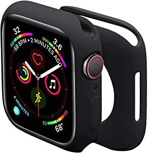 Sundo for Apple Watch Case Series 6/SE/5/4 40mm 44mm,Series 3/2 38mm 42mm Soft TPU Thin Lightweight Protective Bumper Cover for Smartwatch(Black,44mm)