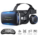 Pansonite Vr Headset with Remote Controller, 3D Glasses Virtual Reality Headset for VR Games & 3D Movies, Eye Care…