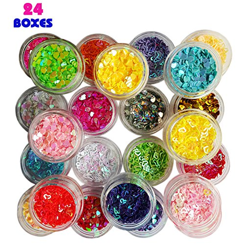 Happlee 24 Colors Hollow Solid Heart Confetti, Mixed Shapes of Colorful Manicure Glitter Confetti, Perfect for DIY Crafts, Scrapbooking, Nail Art, Parties Decoration - Nail Art Confetti Shapes