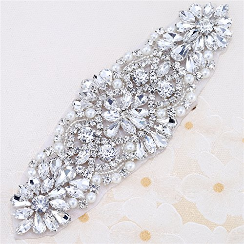 Beaded Applique with Rhinestones and Pearls for Wedding Sash or Head Piece-Silver-1 Piece(6.1