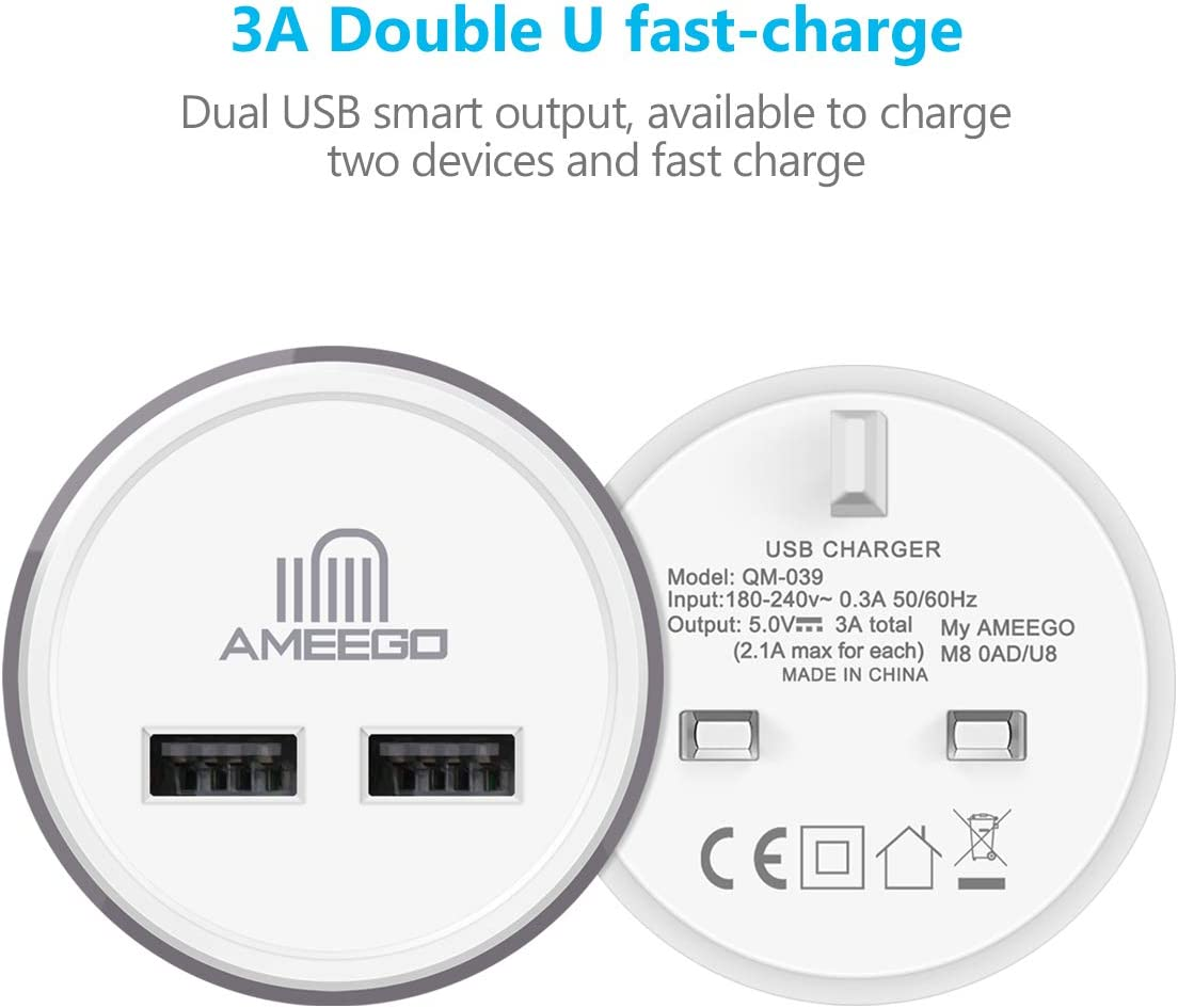 indle,Android Tablets and More Dual USB Charger Plug 2Pack 3.1AMP//3100mAh Supper fast Universal 2 Port USB Mains Charger with Smart IC For iPhone iPad White