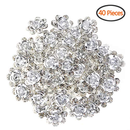 BETITETO U Shaped Flower Rhinestone Hair Pins Crystal Hair Accessories for Bridal Wedding/Party/Teen Sweet Sixteen (White)