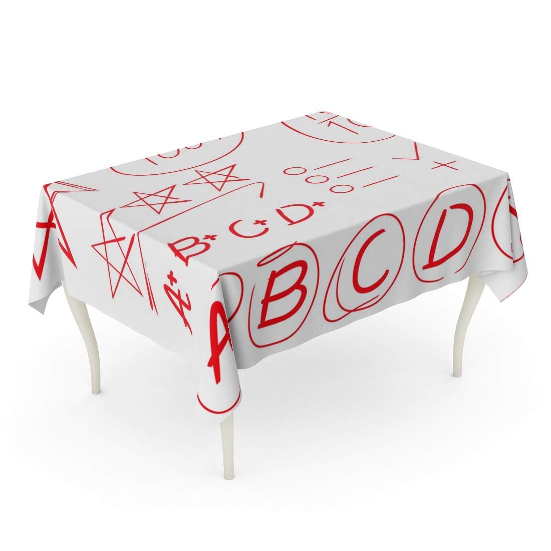 Tarolo Rectangle Tablecloth 60 x 84 Inch Red Homework Score Full Marks Grade Star Symbol Highlighter Emphasis Pen Test Marker Exam Table Cloth