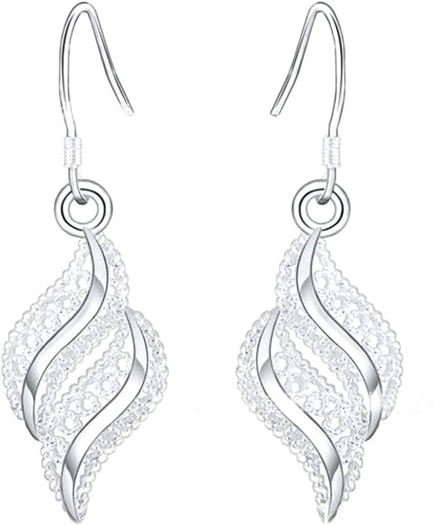 1 paire femmes argent petite boucle doreille en forme de feuille ondul/ée boucles doreilles boucles doreilles de mode