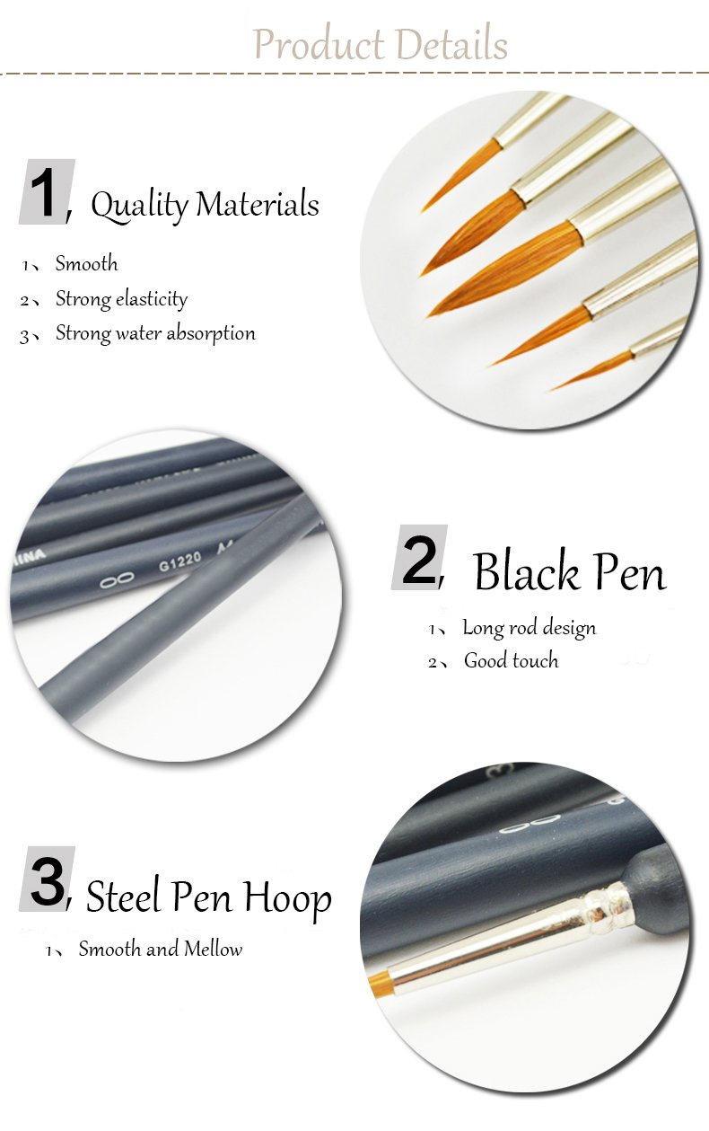 10/pezzi AIUIN per acquerelli e pitture set di pennelli per dettagli
