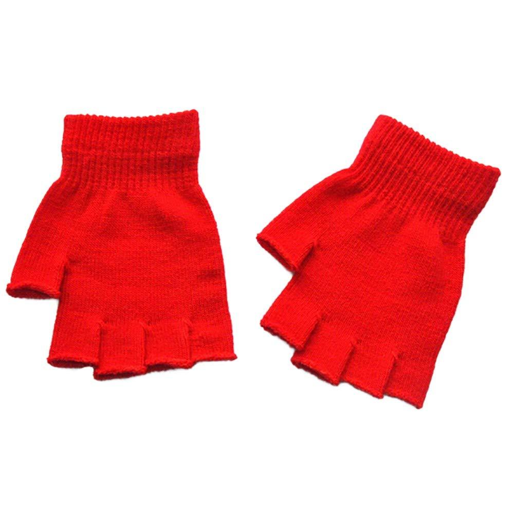 MALLOOM Unisex Adult Women Men Gloves Warm Winter Fingerless Mitten Knitted Crochet Half-Fingers Gloves (Red)