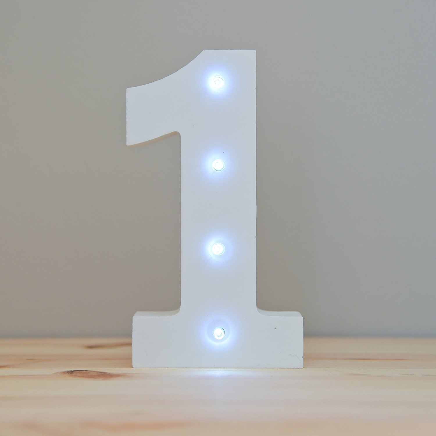 WONFAST Decorative Light Up Wooden Number Letters, White Wood Marquee LED Number Lights Sign Party Wedding Decor Battery Operated Number (1)