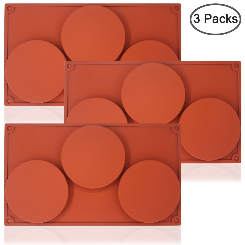 SourceTon 3-Cavity Large Round Silicone Disc Cake Mold, 3 PCS Pack of Non-Stick Baking Molds for Cake, Candy, Soap by SourceTon (Image #3)