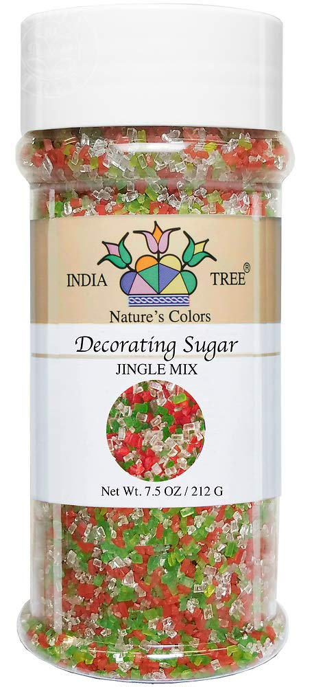 India Tree Nature's Colors Mix Decorating Sugar, Jingle, 7.5 Ounce