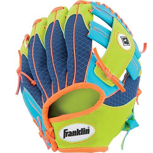 Franklin Sports Teeball Recreational Series Fielding Right Hand Glove with Baseball, 9.5-Inch, Royal/Lime/Orange