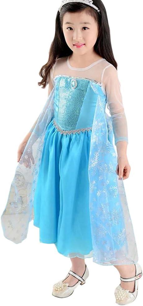MissFox Frozen Disfraz Niñas Disfraces De La Princesa Elsa 110CM ...