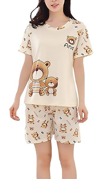 Pijamas Mujer Verano Elegante Manga Corta Cuello Redondo Camisetas Tops+Shorts Dos Piezas Anchas Ropa