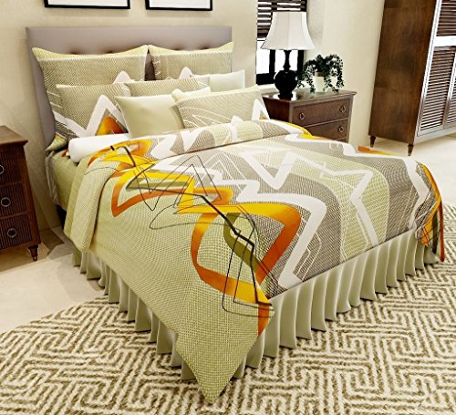 Home Candy 144 TC Geometric Cotton Double Bedsheet with 2 Pillow Covers – Multicolor.