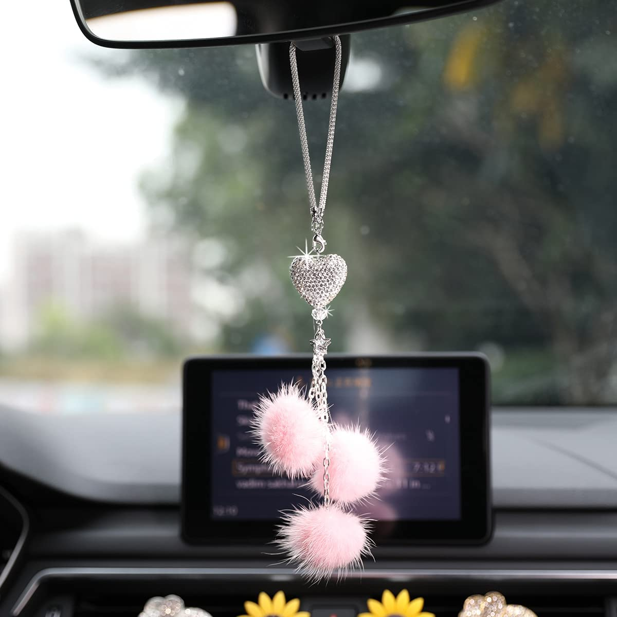 TANAAB Car Accessories for Women Interior Cute, Bling Rear View Mirror Accessories Rhinestones Diamond White Heart Pink Fuzzy Drops Mirror Hanging Ornament Girly Car Decor for Girl Lucky Love - Pink