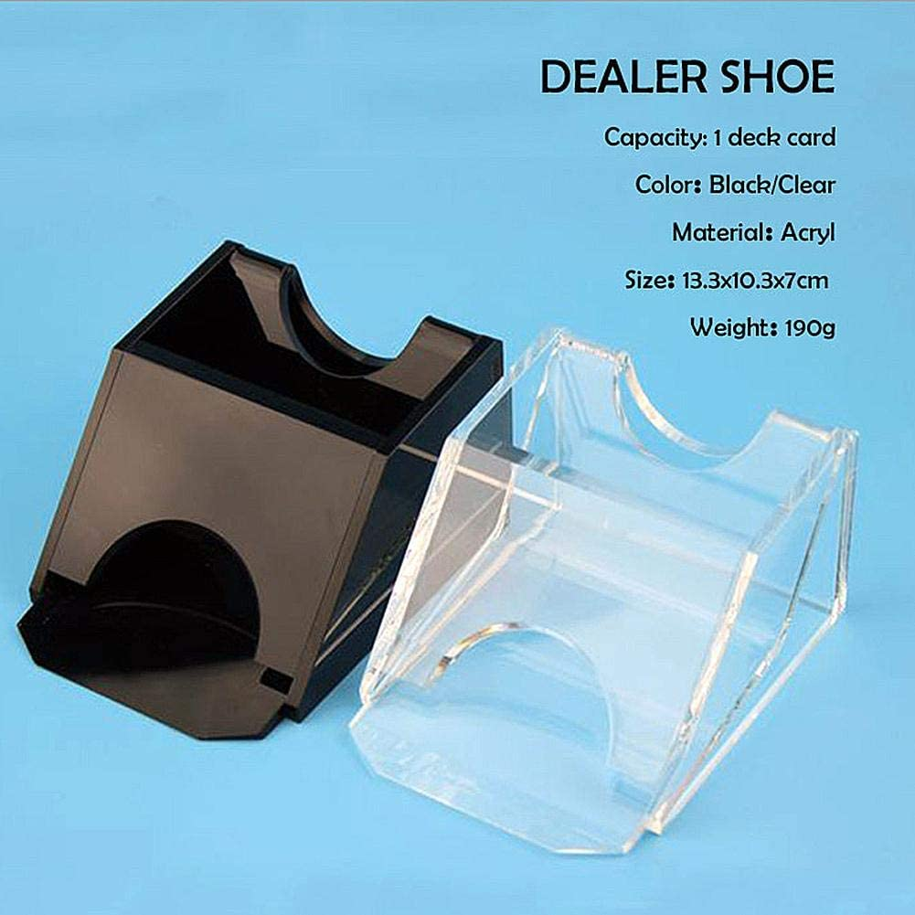 Cheerfulus 123 Poker Dealer Texas Holdem Professional Card Shufflers 1 Deck Black Transparent Blackjack Dealing Shoe Dealer Playing Cards Dealing Shoe Lightweight Durable Game Table Accessories