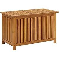 vidaXL Solid Acacia Wood Garden Storage Box Durable Wooden Outdoor Patio Hallway Blanket Pillow Entryway Hall Bench…