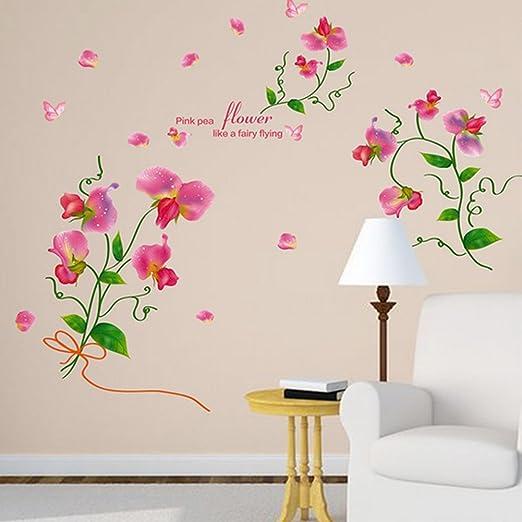 Murales pared Pegatina flores mariposa dormitorio salón Flower