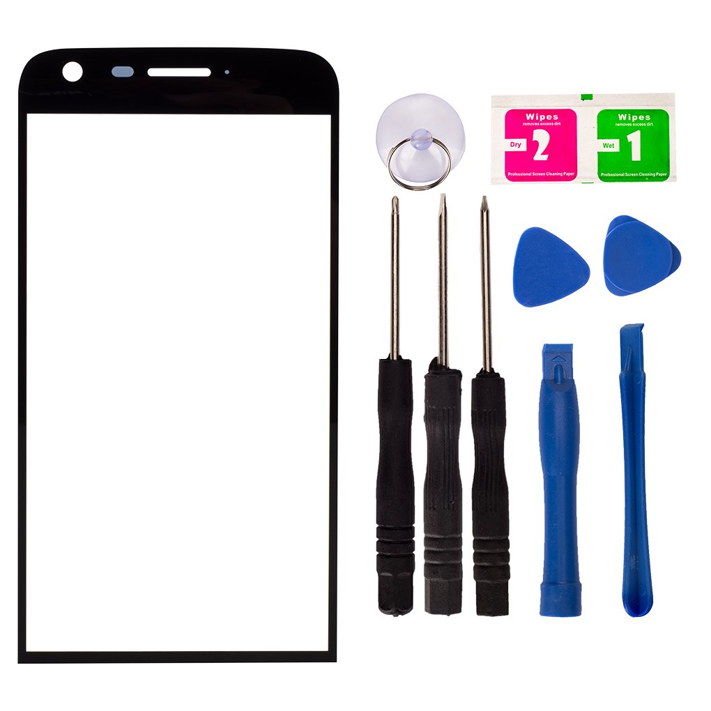 Replacement Repair Front Outer Top Glass Lens Cover Screen For L G5 Speed H868 H858 H820 VS987 LS992 US992 H830 H840 H850 F700 H831 Dual H860N Mobile Phone Parts With Tools Kit (Black) Andy music