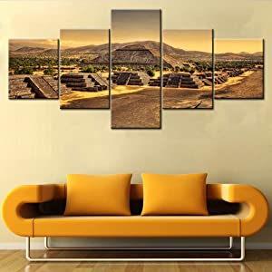 Aztec and Mayan Wall Art Mexico Wall Pictures Pyramid of the Sun Paintings 5 Panels HD Prints Ancient City Teotihuacan Canvas Artwork Modern House Decor Giclee Framed Ready to Hang Gift(50'W x 24''H)
