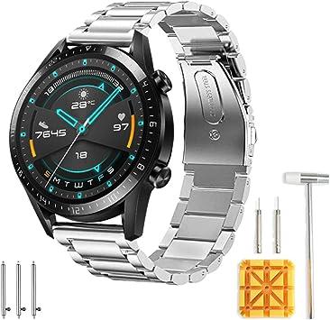 Imagen deSPGUARD Correa Compatible con Correa Huawei Watch GT2 46mm Huawei Watch GT 2e Correa,Pulsera de Repuesto de Metal de Acero Inoxidable para Huawei GT2 46mm/Huawei GT 2e/Active-Plata