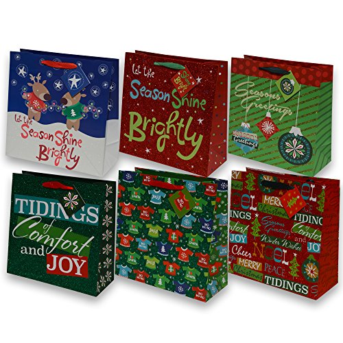 12 Christmas Gift Bags bulk, large square glitter bags for wrapping holiday gifts, assorted prints, 2 of each included