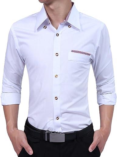ISSHE Camisas Slim Fit Hombre Camisa Regular Fit Básica Cuello Clásico Camisas de Vestir Formal Caballero Camisas Vestidos Entalladas Casuales para Hombres Camisetas Manga Larga Fiesta Modernas: Amazon.es: Ropa y accesorios