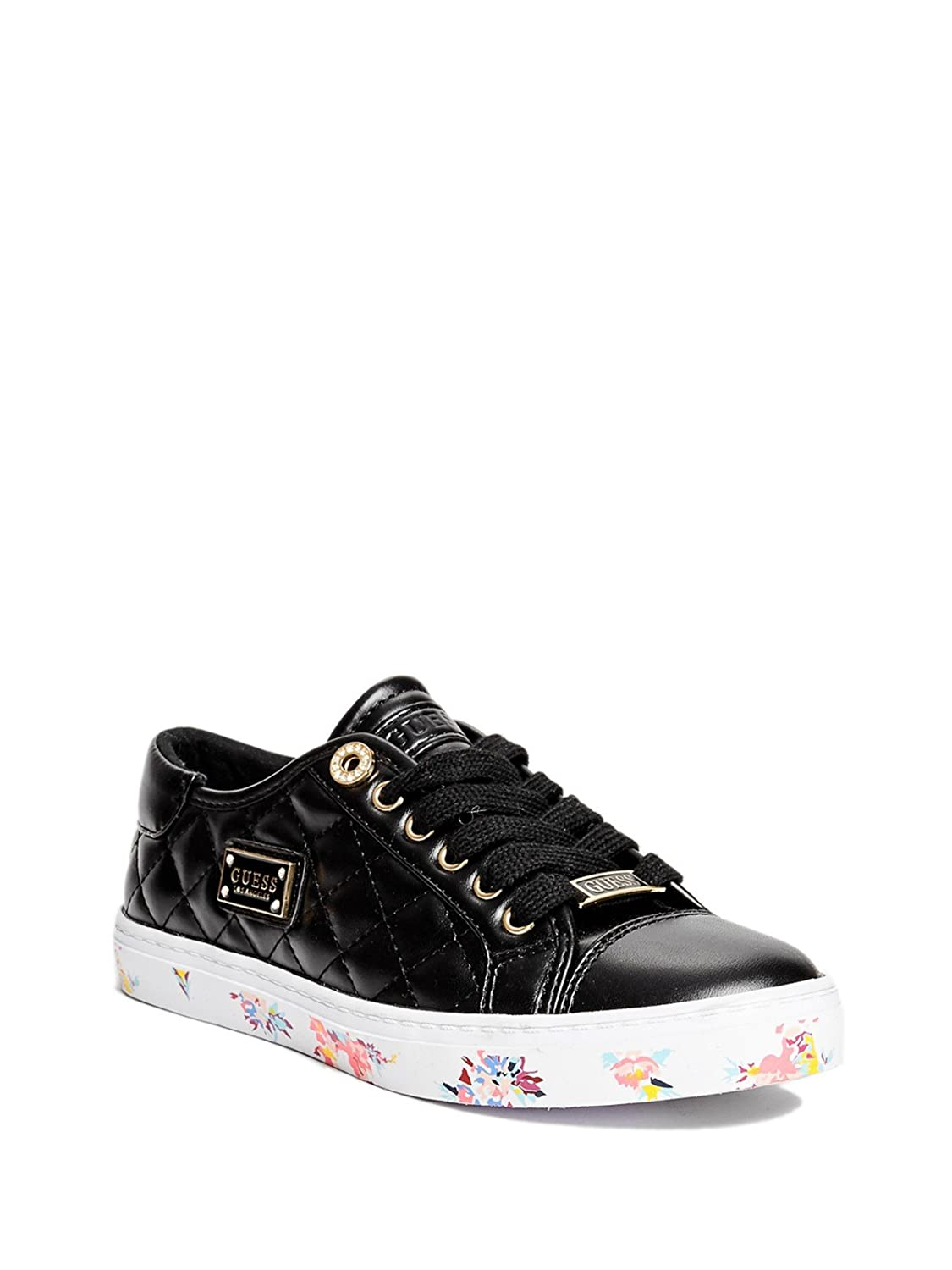 7405d1be84a2 GUESS Factory Women s Greatly Quilted Sneakers Black Size  M US  Amazon.co. uk  Shoes   Bags
