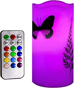 "Kelake Flameless LED Candles with 18-key Remote Timer 5"" Tealight Butterfly & Plant Decor Real Wax Electric Candle Lights 12 Color Changing for Kitchen/Home/Indoor/Outdoor Party Holiday Halloween Gift"