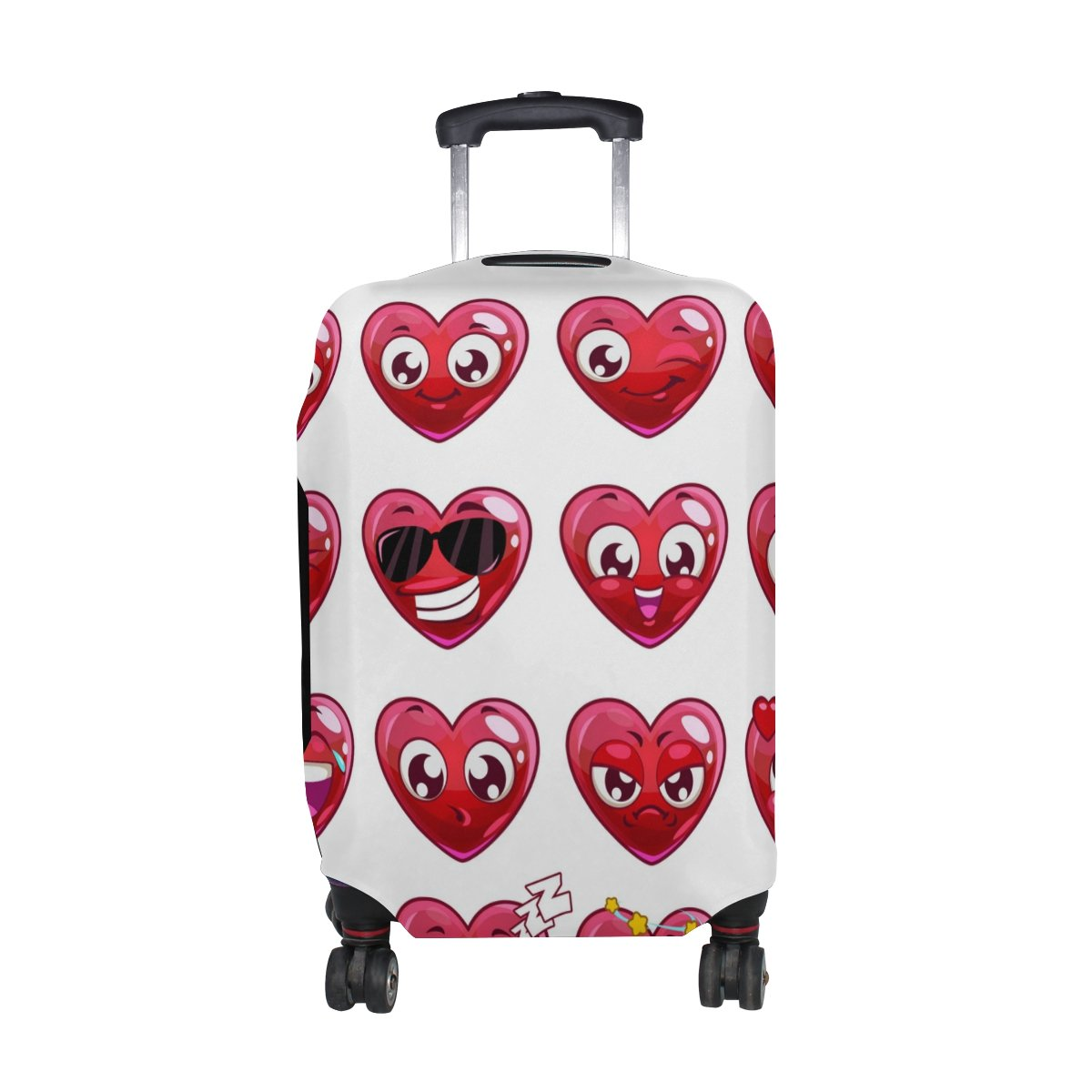 U LIFE Cute Happy Emoji Love Heart Luggage Suitcase Cover Protector for Travel