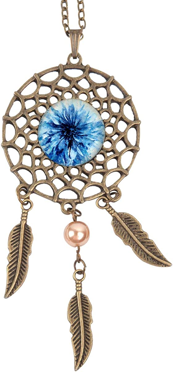 Queen Area Dream Catcher Necklace Blue Flower Pendant Dangling Feather Tassel Bead Charm Chain Jewelry for Women