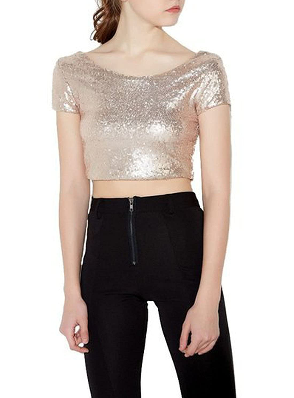 a70fdc48075 Été Femme Tops Sweat-Shirts Fashion Paillettes Court Chemisiers T Shirt Haut  Col Rond Manches Courtes ...