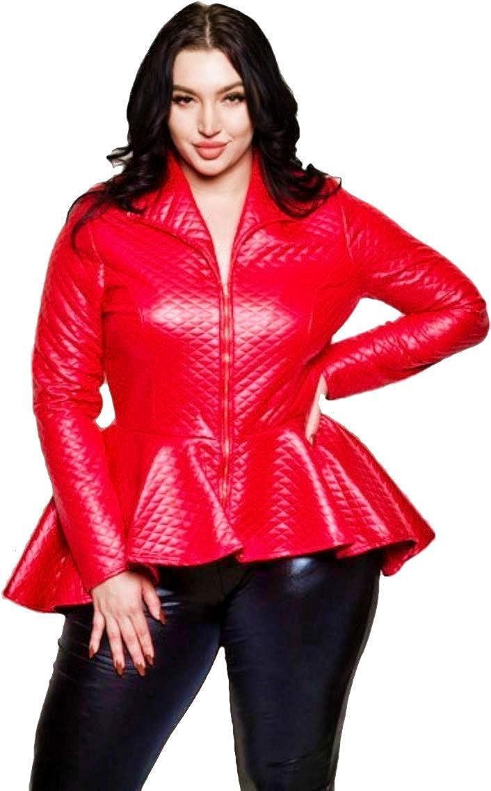 Women\'s Red Peplum Leather Jacket Plus Size (2X) at Amazon ...