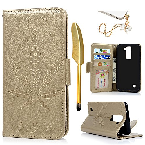 LG Phoenix 2 Case, LG Escape 3 Case, LG K8 2016 Case, MOLLYCOOCLE PU Leather Embossed Leaf Notebook Wallet Cover with Kickstand Credit Card ID Slot Magnetic Closure Folio Flip Protective Skin Cover