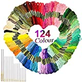 DIY Embroidery Tools, yodaliy Embroidery Floss Set with Needle Smooth 124 Skeins Durable Cross Stitch for String Art, Needlecraft Project etc