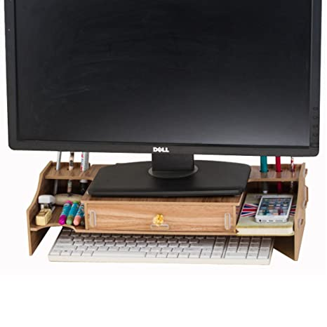 amazon com flasheagle monitor increases stand wooden desktop rh amazon com