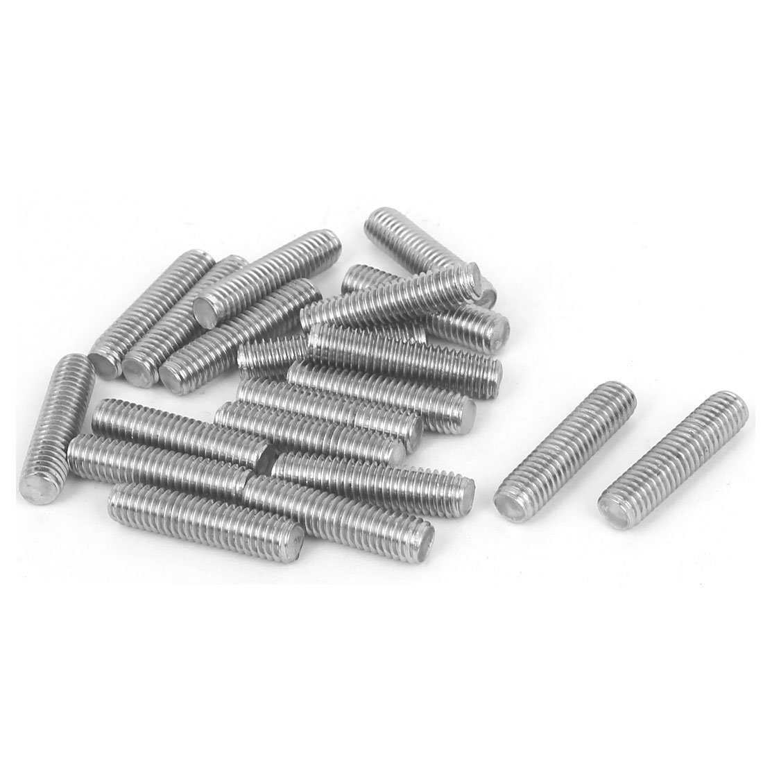 uxcell M6 x 25mm Fully Threaded 304 Stainless Steel Rod Bar Studs Silver Tone 20 Pcs a16071500ux0135