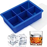 """Silicone Ice Cube Tray With Lids, Easy Release Large Size 2"""" Cubes BPA-Free Ice Trays of 6 Cavities, Spill-Resistant Ice Cube"""