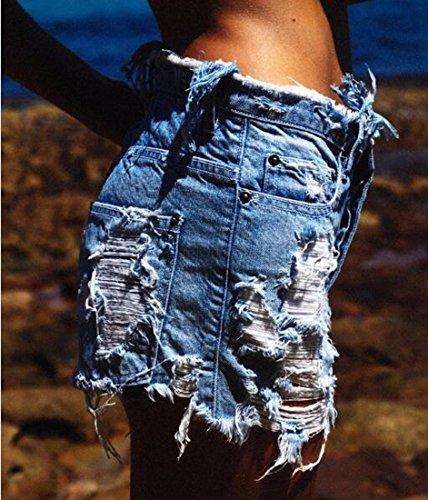 Pantalones Los Agujeros Mezclilla Mujeres del Vaqueros Rasgados De Cortos Las Z Pantalones La Azul Pantalones Roca Mendigo QIYUN De Cortos De Chica De wqZAUCI