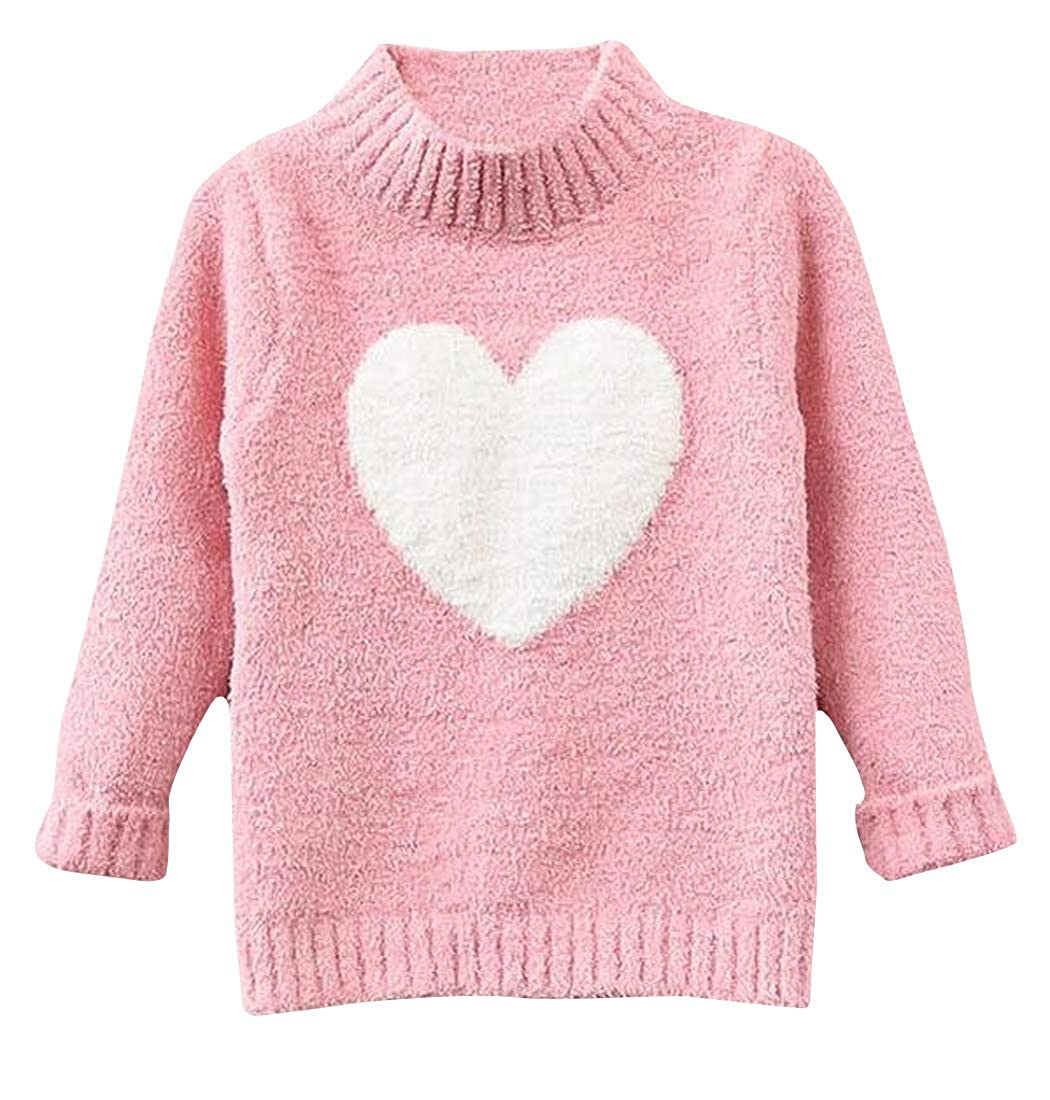 Pandapang Big Girls' Mock Neck Knit Pullover Cute Plush Sweaters