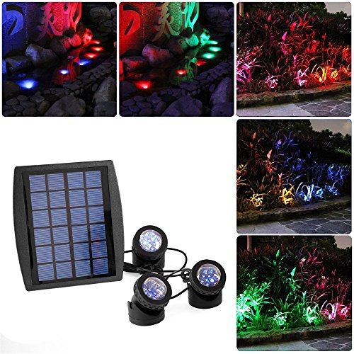 (RivenAn 18 LEDs Solar Powered RGB Color Changing Landscape Spotlight Projection Light for Garden Pool Pond Outdoor Decoration & Lighting with 3 Submersible Lamps)