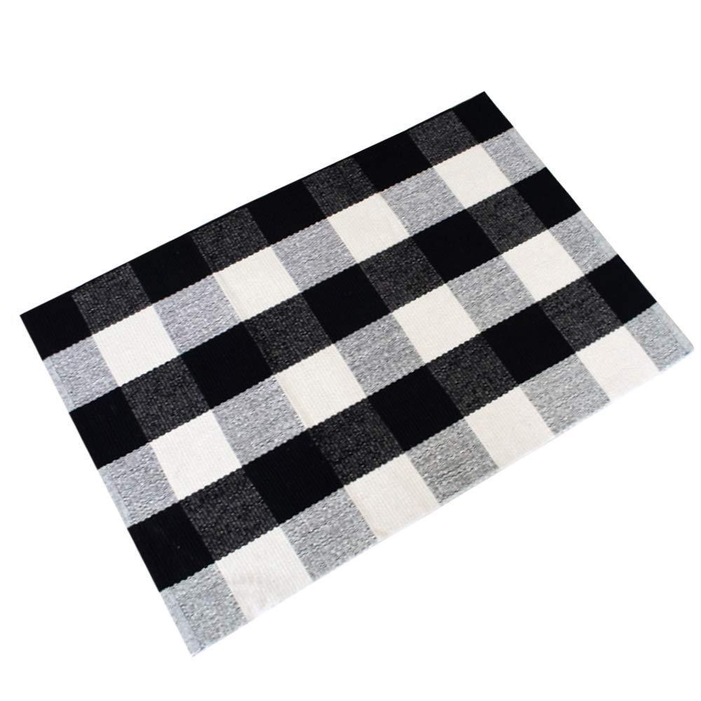 Cotton Plaid Rugs Black White Checkered Plaid Rug Hand-Woven Buffalo Checkered Carpet Washable Porch Kitchen Rugs 24''x51''