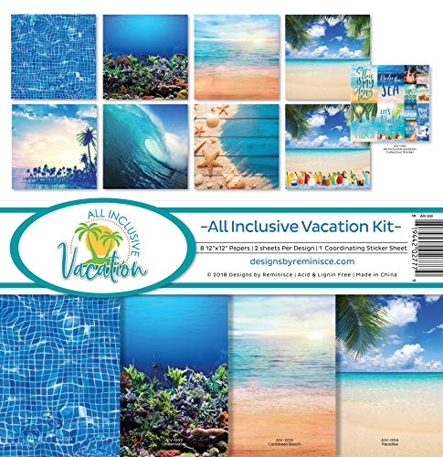 Reminisce (REMBC) AIV-200 All Inclusiive Vacation Scrapbook Collection Kit, Multi Color Palette