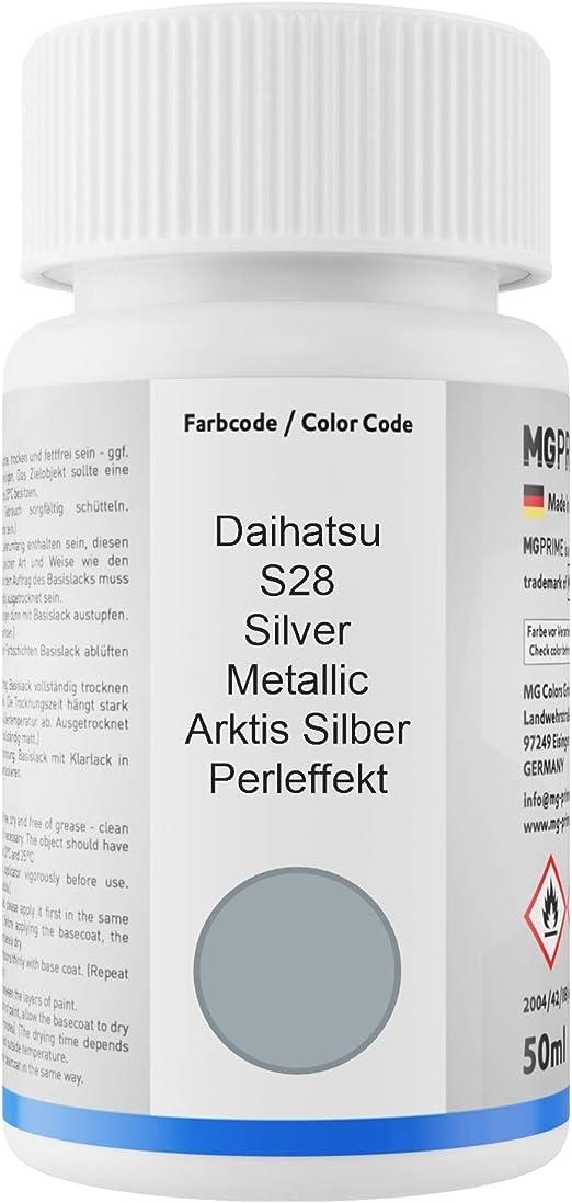 Mg Prime Autolack Lackstift Set Für Daihatsu S28 Silver Metallic Arktis Silber Perleffekt Basislack Klarlack Je 50ml Auto