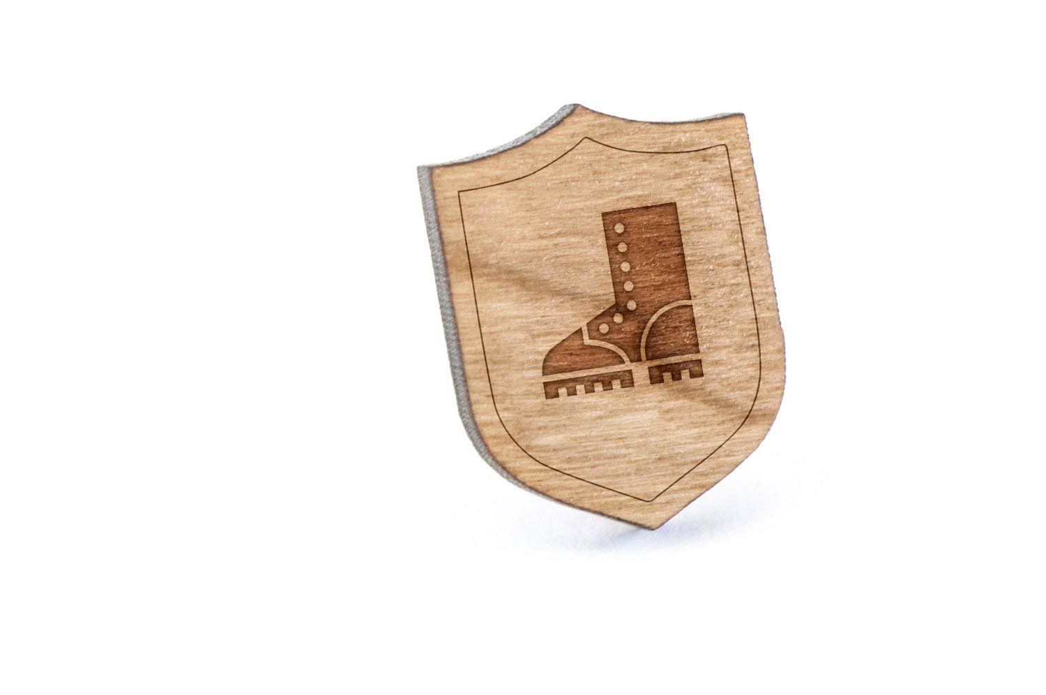 Logger Boot Lapel Pin, Wooden Pin And Tie Tack | Rustic And Minimalistic Groomsmen Gifts And Wedding Accessories