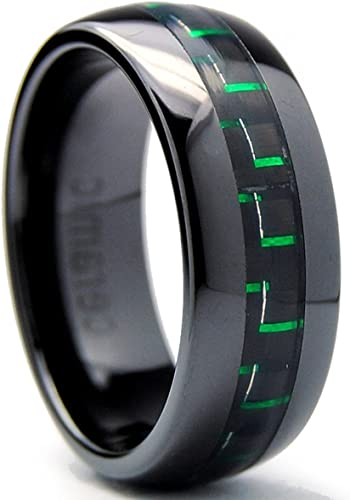 Black Ceramic Ring with Carbon Fiber Inlay 8MM High Polished Fashion Jewelry