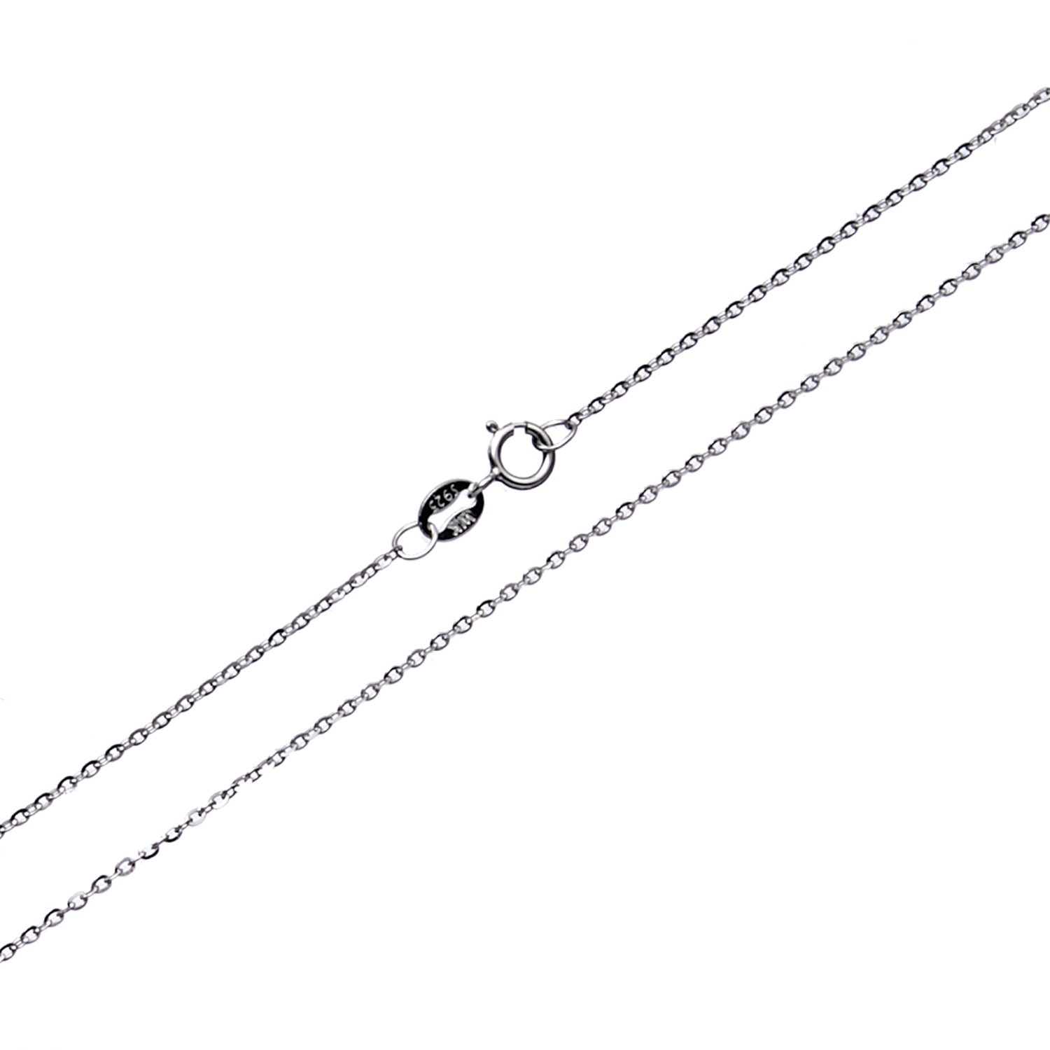 Wellme Sterling Silver Gliding Rolo Cable Chain Necklace 16''-24'' (1mm Width 55cm (22 inches))